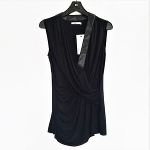Bailey 44 Sleeveless Top w/Faux-Leather Trim - NWT